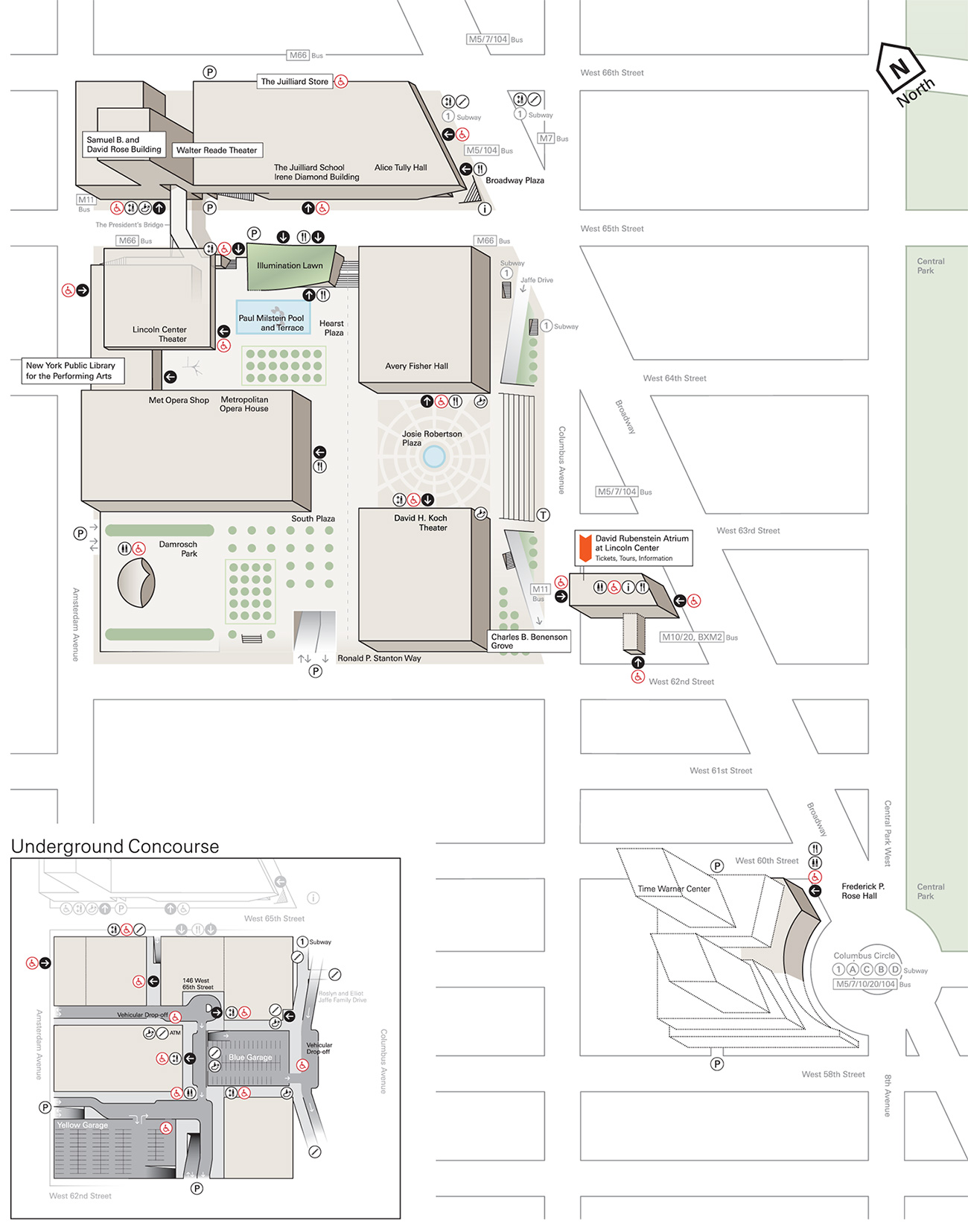 Map of Lincoln Center indicating wheelchair accessible entrances